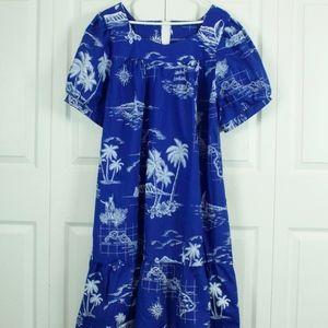 66992944 Royal Creations · Royal Creations Caftan Hawaiian Dress Size XL Blue